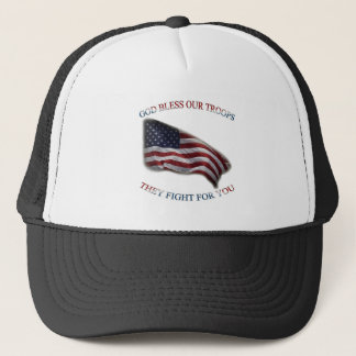 patriotic support troops trucker hat