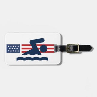 Patriotic Swimming Design Luggage Tag
