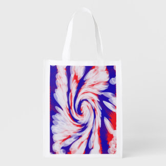 Patriotic Swirl Abstract Reusable Grocery Bag