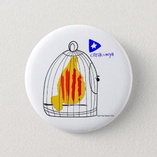 Patriotic Symbol, Catalonia freedom dove in cage 6 Cm Round Badge