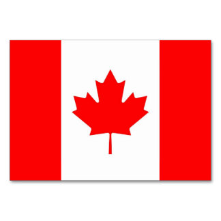 Patriotic table card with Flag of Canada