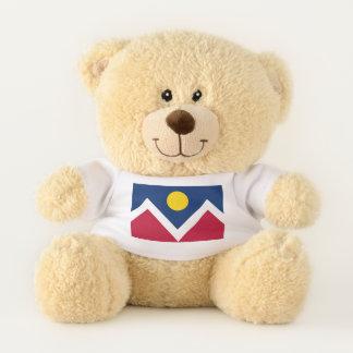 Patriotic Teddy Bear with flag of Denver, Colorado