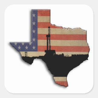 Patriotic Texas Oil Drilling Rig Square Sticker