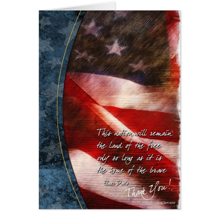 Patriotic Thank You Card with Vintage U.S. Flag