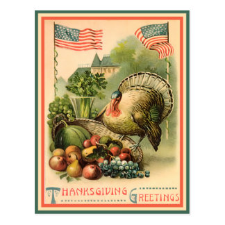 Patriotic Thanksgiving Postcard