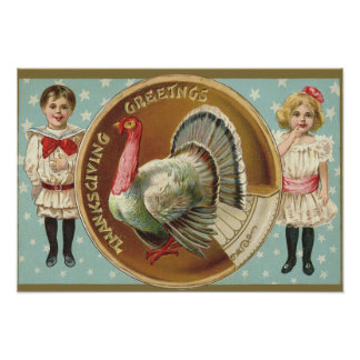 Patriotic Thanksgiving Turkey Children Stars Poster