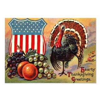 Patriotic Thanksgiving Turkey Fruit 13 Cm X 18 Cm Invitation Card