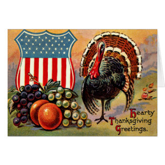 Patriotic Thanksgiving Turkey Fruit Greeting Card