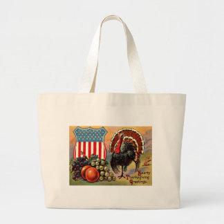 Patriotic Thanksgiving Turkey Fruit Jumbo Tote Bag