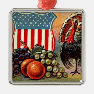 Patriotic Thanksgiving Turkey Fruit Silver-Colored Square Decoration