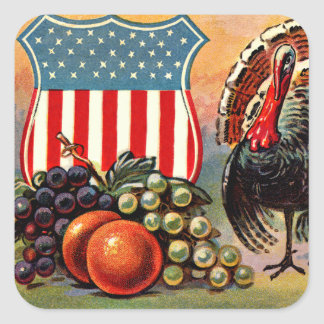 Patriotic Thanksgiving Turkey Fruit Square Sticker