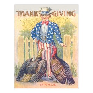 Patriotic Thanksgiving Turkey Uncle Sam Bald Eagle Postcard
