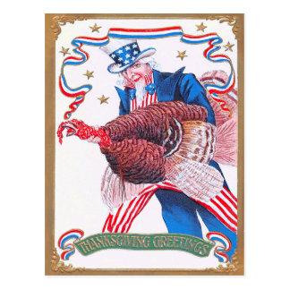 Patriotic Thanksgiving Turkey Uncle Sam Postcard