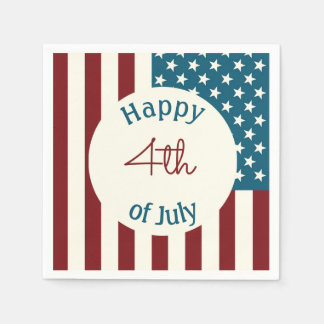 Patriotic Themed Napkins for Fourth of July Party Disposable Napkins