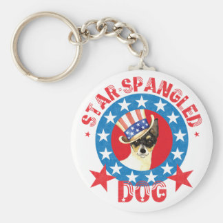 Patriotic Toy Fox Terrier Key Ring