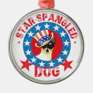 Patriotic Toy Fox Terrier Metal Ornament