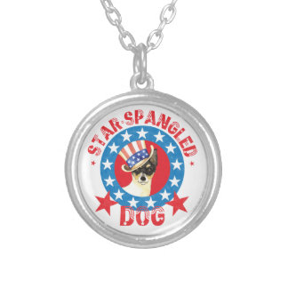 Patriotic Toy Fox Terrier Silver Plated Necklace