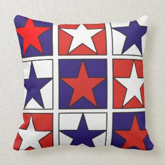 Patriotic Tricolor Stars Cushion