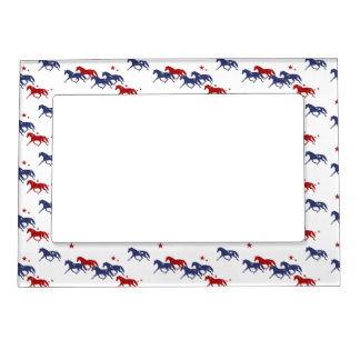 Patriotic Trotting Horses Pattern Magnetic Picture Frame