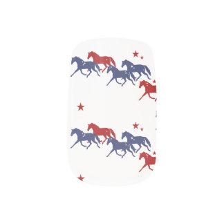 Patriotic Trotting Horses Pattern Minx Nail Art