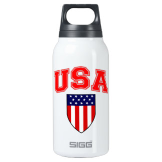 Patriotic U.S.A American Flag Shield Insulated Water Bottle
