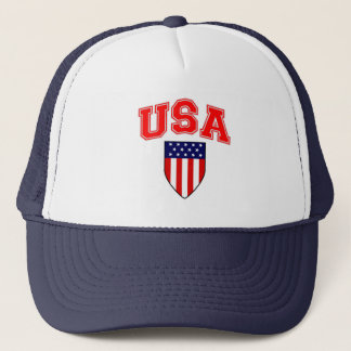 Patriotic U.S.A American Flag Shield Trucker Hat