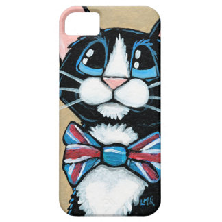 Patriotic UK Tuxedo Cat wearing Bow Tie Painting iPhone 5 Cases