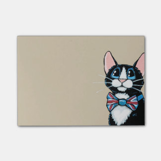 Patriotic UK Tuxedo Cat wearing Bow Tie Painting Post-it Notes
