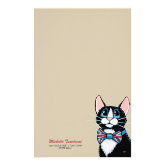 Patriotic UK Tuxedo Cat with Bow Tie Personalized Customized Stationery