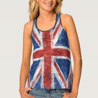 Patriotic UK Union Flag in Grunge style Singlet