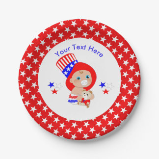 Patriotic Uncle Sam American Baby Personalized Paper Plate
