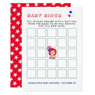 Patriotic Uncle Sam American Baby Shower Bingo Card