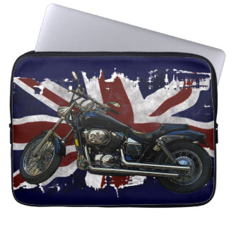 Patriotic Union Jack UK Union Flag & Motorcycle Laptop Sleeve