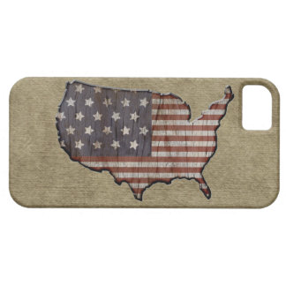 Patriotic United States burlap flag iphone 5 case