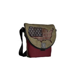 Patriotic United States burlap messenger bag