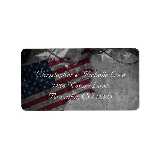 Patriotic United States Flag and Stars Address Address Label