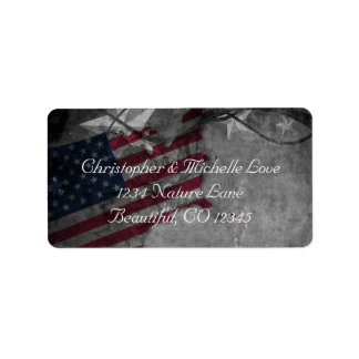 Patriotic United States Flag and Stars Address Label