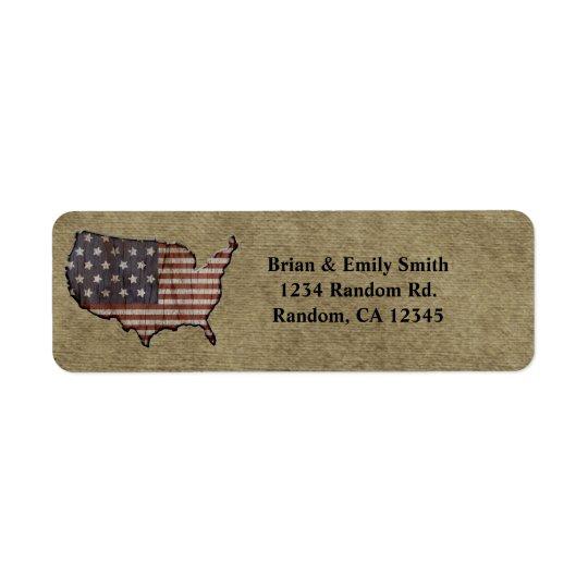 Patriotic United States return address labels