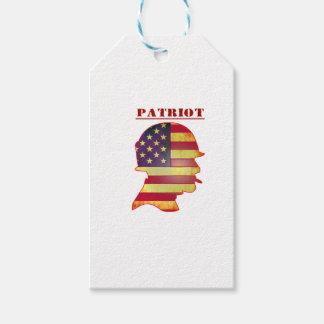 Patriotic US American Flag Military Helmet Gift Tags