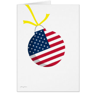 Patriotic US Flag Christmas Ornament Yellow Ribbon Greeting Card