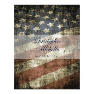 Patriotic US Flag Vintage Red White Blue Wedding 11 Cm X 14 Cm Invitation Card
