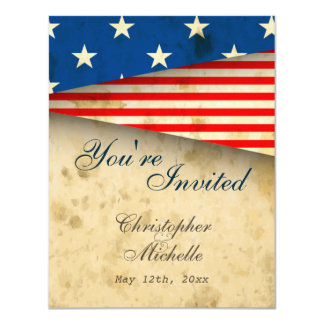Patriotic US Flag Vintage Style Wedding Invitation