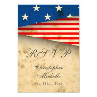 Patriotic US Flag Vintage Style Wedding RSVP Cards