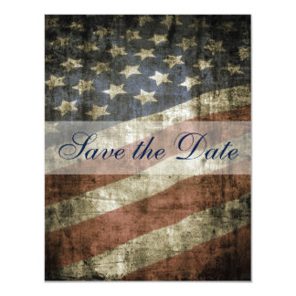 Patriotic US Flag Vintage Wedding Save the Date 11 Cm X 14 Cm Invitation Card