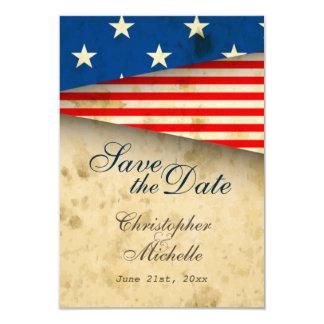 Patriotic US Flag Vintage Wedding Save the Date 9 Cm X 13 Cm Invitation Card