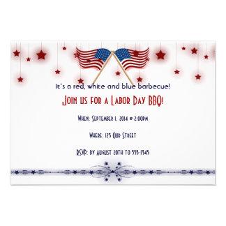 Patriotic US Flags and Stars Labor Day Custom Invites