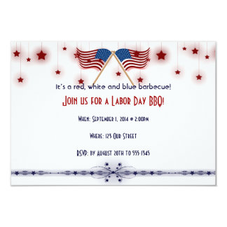 Patriotic US Flags and Stars Labor Day 9 Cm X 13 Cm Invitation Card