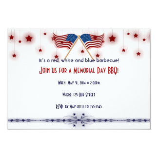 Patriotic US Flags and Stars Memorial Day 9 Cm X 13 Cm Invitation Card