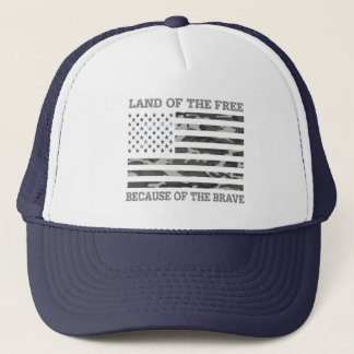 Patriotic USA American Flag Land of The Free Trucker Hat