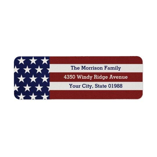 Patriotic USA American Flag Stars & Stripes Return Address Label